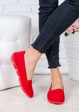 Туфли мокасины красная замша