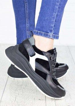 Кроссовки кожаные Ba!enc!aga черные