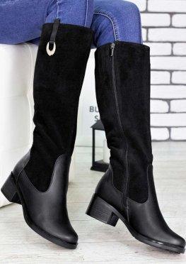 Сапоги женские кожаные с замшей