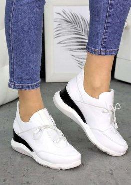 Сникерсы белые кожаные