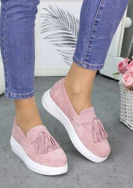 Туфли лоферы замша пудра
