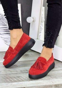 Туфли лоферы красная замша