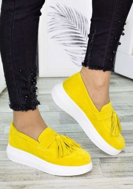 Туфли лоферы замша лимон