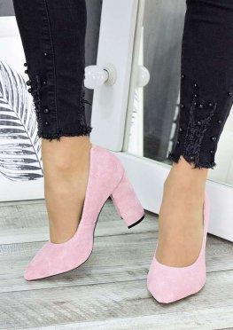 Туфли на каблуке розовая замша