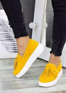 Туфли лоферы горчица замша