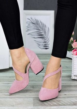 Туфли пудра замша