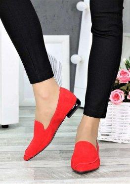 Туфли лодочки на низком ходу красные
