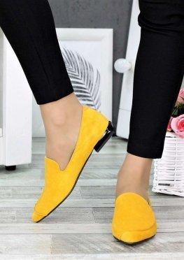 Туфли лодочки на низком ходу горчица