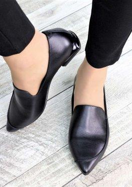 Туфли лодочки кожаные на низком ходу
