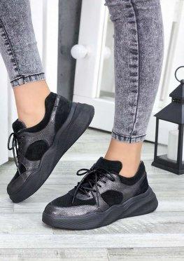 Кроссовки темный никель + замша