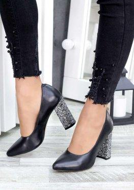 Туфли на каблуке черная кожа блестки