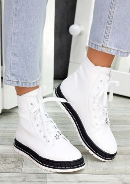 Ботинки белые кожаные