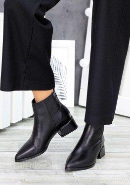 Ботинки челси козаки черная кожа