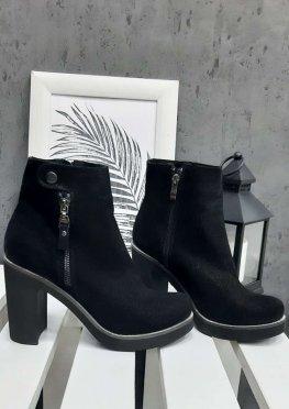 Ботинки на каблуке сатин-кожа АКЦИЯ