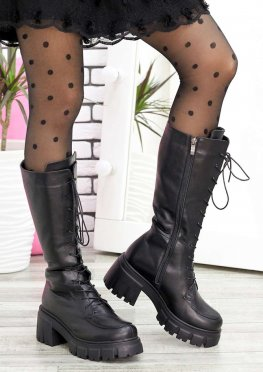 Ботинки высокие на шнуровке кожа