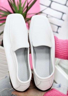 Туфли мокасины белые кожаные