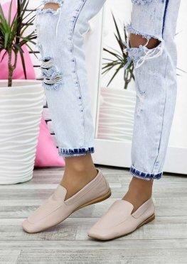 Туфли мокасины беж кожаные