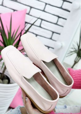 Туфли мокасины пудра кожаные