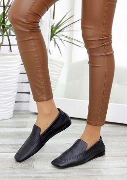 Туфли мокасины черные кожаные
