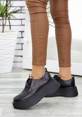 Туфли броги черная кожа