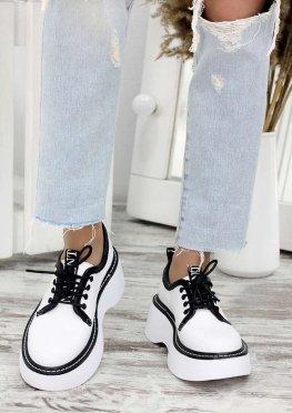 Туфли кожаные броги белые