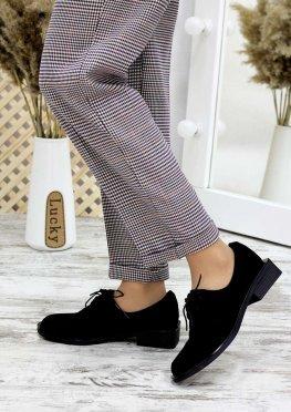 Туфли оксфорды черная замша