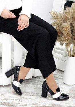 Туфли кожа черный лак Loft