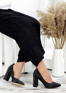 Туфли на каблуке черная кожа хаки