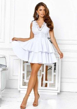 Белое коктейльное платье c юбкой-полусолнце