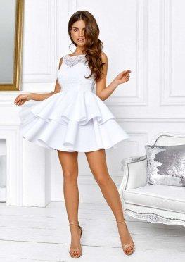 Белое гипюровое коктейльное платье мини