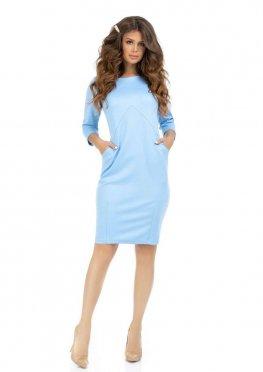 Голубое платье с карманами