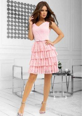Коктейльное платье мини розового цвета