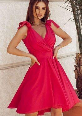 Коктейльное платье миди в малиновом цвете