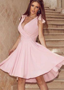 Коктейльное платье миди в розовом цвете