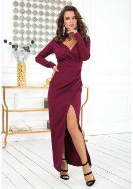 Платье в пол с длинным рукавом бордового цвета