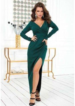 Платье в пол с длинным рукавом зеленого цвета