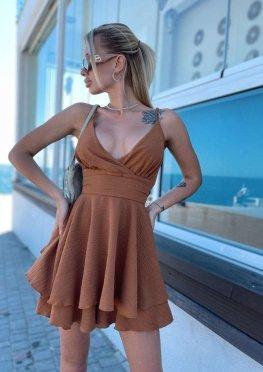 Комбинезон-платье коричневого цвета