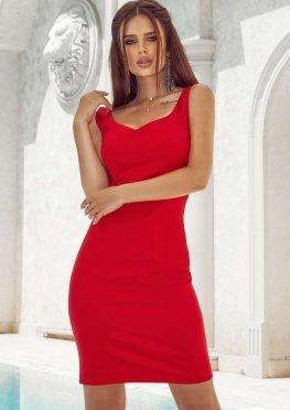 Короткое коктейльное платье  красного цвета