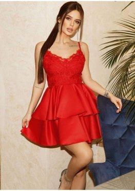 Красное коктейльное платье  мини