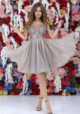 Коктейльное платье c юбкой-полусолнце