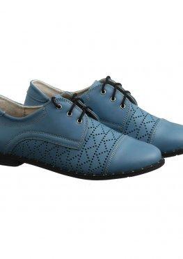 Голубые туфли размер из кожи с перфорацией