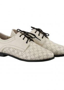 Бежевые туфли из кожи с перфорацией