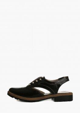 Черные кожаные босоножки с закрытыми пальцами