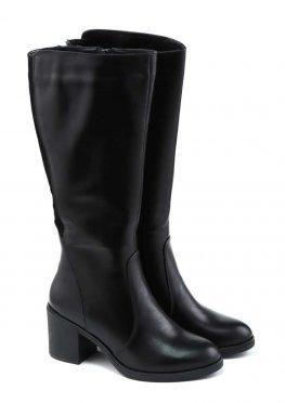 Демисезонные черные сапоги на каблуке