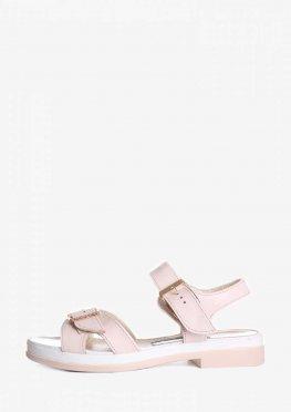 Кожаные босоножки с пряжкой розового цвета