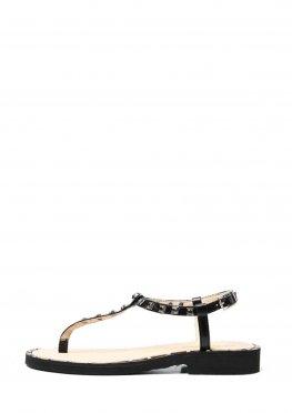 Черные кожаные женские сандали