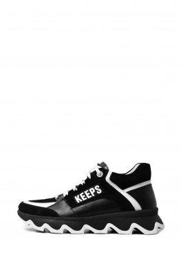 Черные женские кроссовки в комбинации кожа и замша