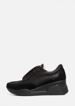 Черные женские кроссовки из натуральной кожи