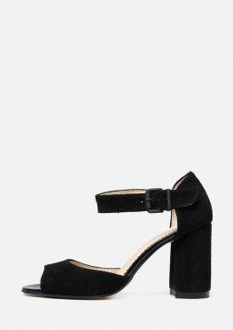 Замшевые босоножки на высоком устойчивом каблуке