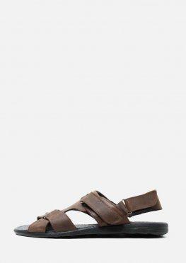 Мужские кожаные коричневые сандали с липучкой